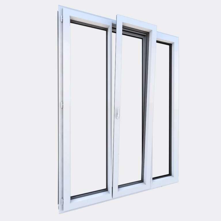 Porte Fenêtre ALU gamme Titans 2 vantaux dont 1 oscillo-battant 1 fixe ouvert