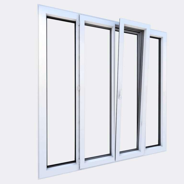 Porte Fenêtre ALU gamme Titans 2 vantaux dont 1 oscillo-battant 2 fixes ouvert