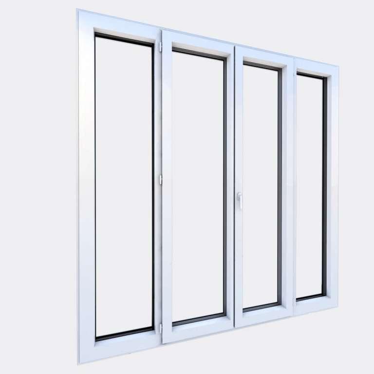 Porte Fenêtre ALU gamme Titans 2 vantaux dont 1 oscillo-battant 2 fixes fermé