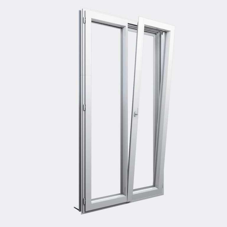 Porte Fenêtre ALU gamme Titans+ 2 vantaux dont 1 oscillo-battant ouvert