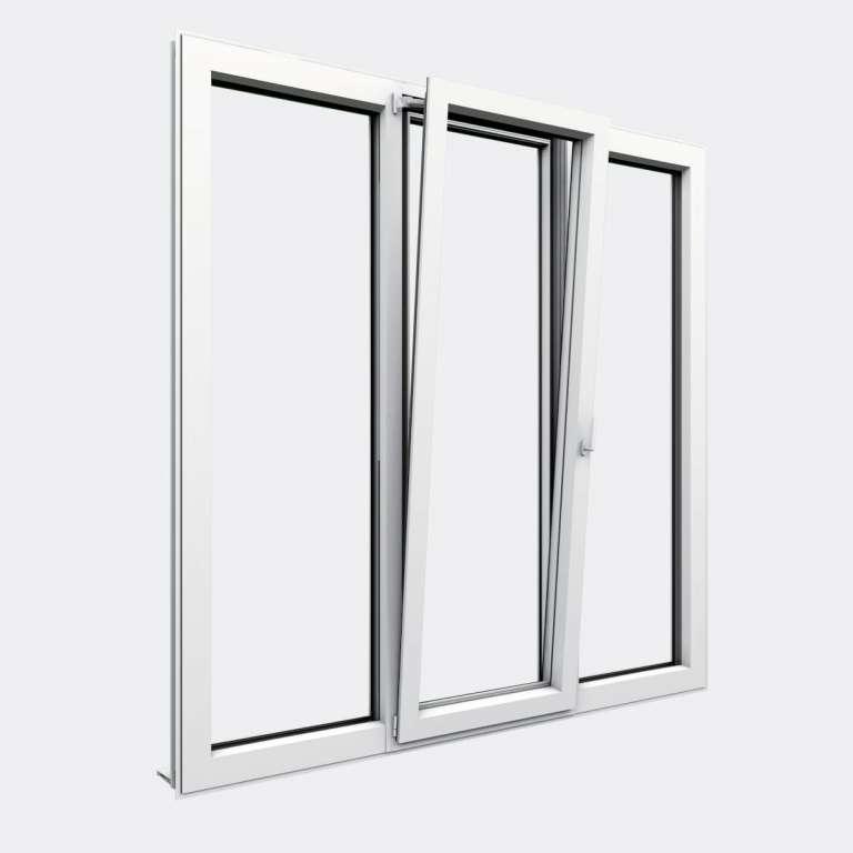 Porte Fenêtre ALU gamme Titans+ 1 vantail oscillo-battant 2 fixes ouvert