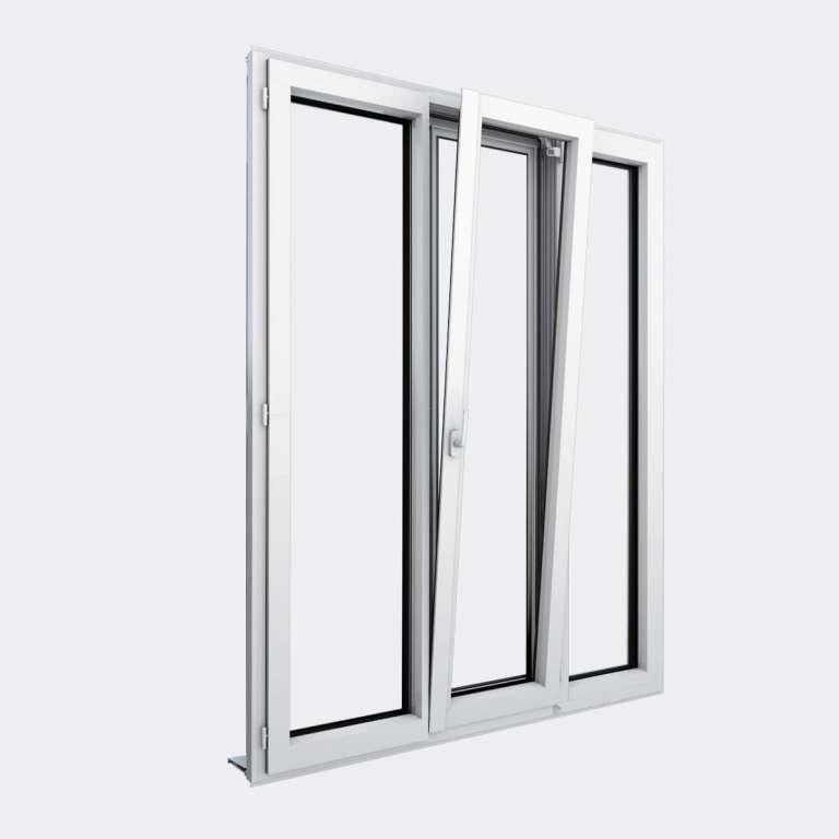 Porte Fenêtre ALU gamme Titans+ 2 vantaux dont 1 oscillo-battant 1 fixe ouvert
