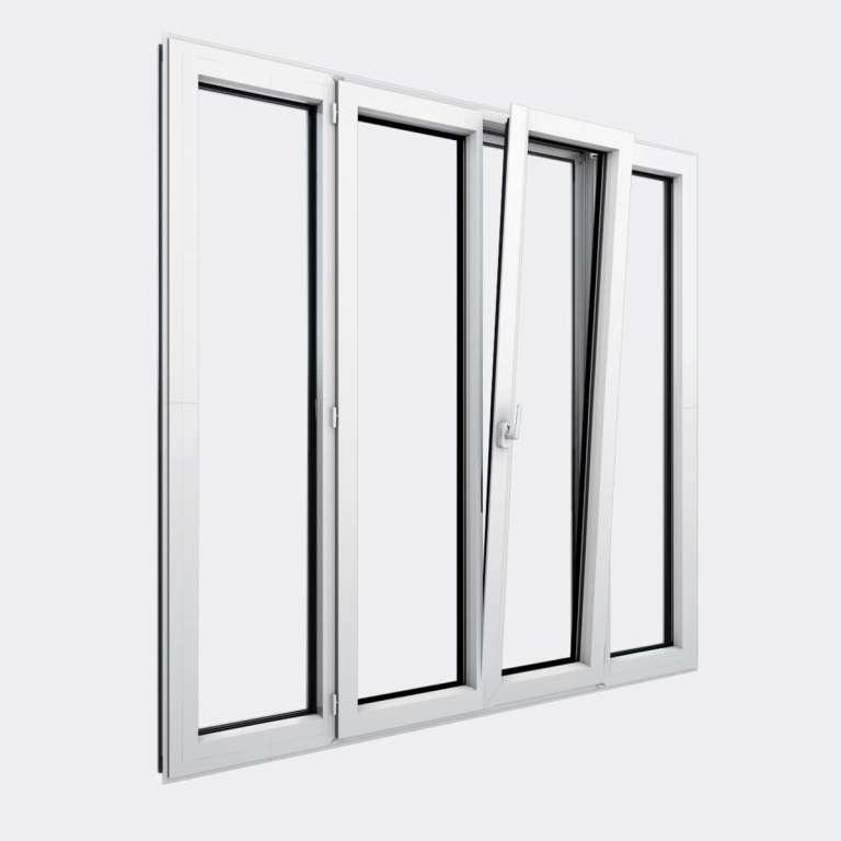 Porte Fenêtre ALU gamme Titans+ 2 vantaux dont 1 oscillo-battant 2 fixes ouvert