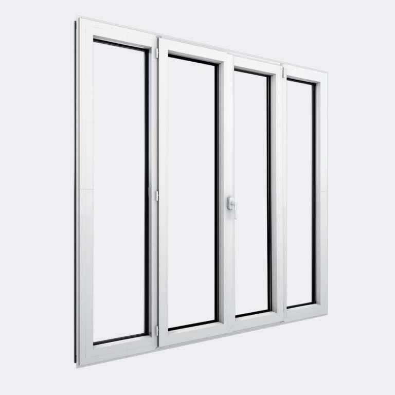 Porte Fenêtre ALU gamme Titans+ 2 vantaux dont 1 oscillo-battant 2 fixes fermé